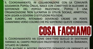 """""""POPOLI"""" CON IL """"COORDINAMENTO DI SOCCORSO PER IL POPOLO PALESTINESE"""""""